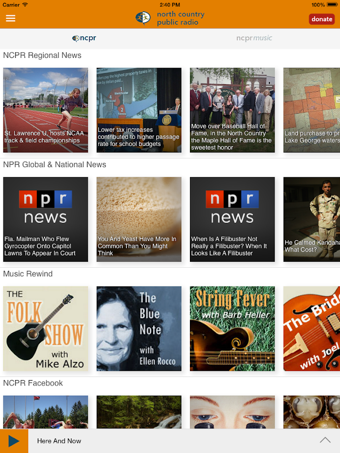 NCPR Public Radio App- screenshot