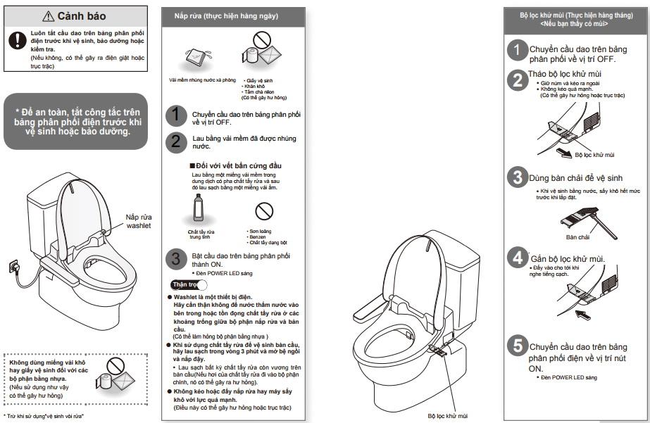 cách sử dụng lắp rửa điện tử TOTO
