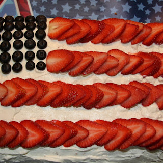 American Flag Fruit Filled Cake with Whipped Frosting.