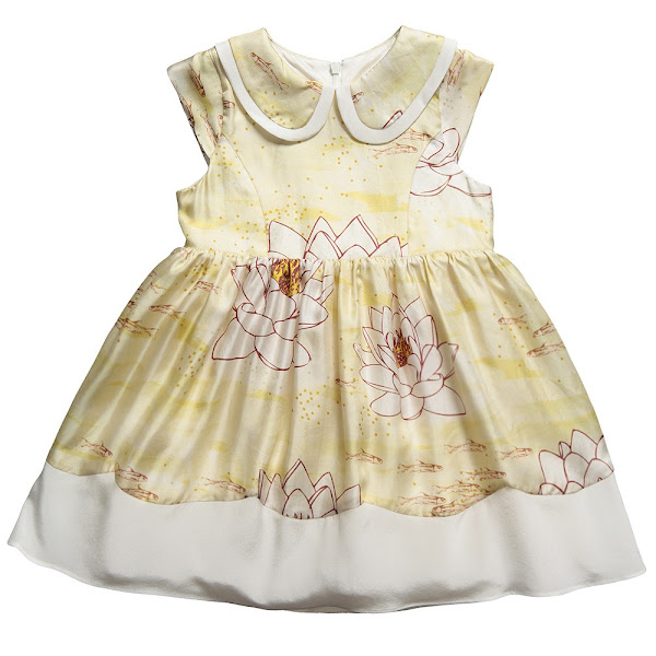 Photo: Hucklebones London   Silk Water Lily Print Dress with Peter Pan Collar and Attached Petticoat http://www.childrensalon.com/silk-waterlilly-dress-with-peter-pan-collar.html  Price: £99.00 Size range: 2-10 year