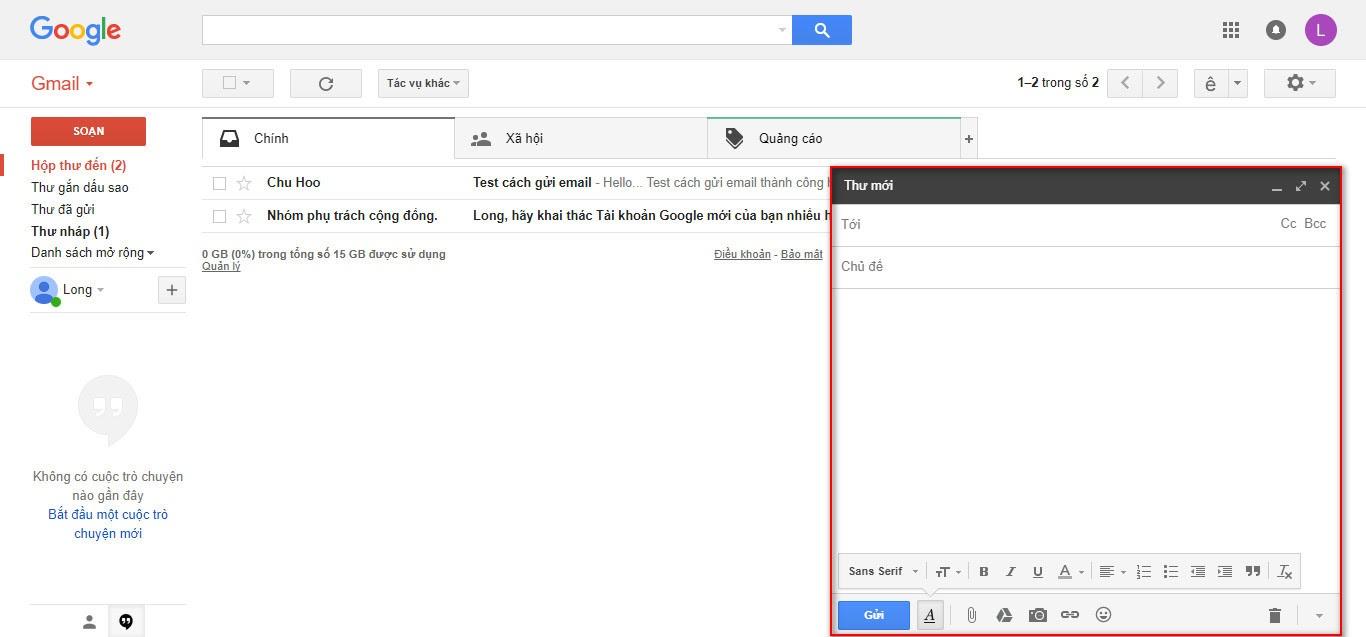 Giao diện soạn email trên gmail