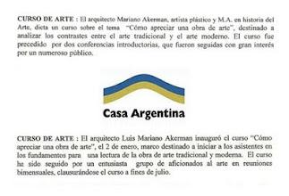 """Photo: """"Curso de Arte,"""" Boletín de Casa Argentina, 12.1999 y 6.2000 http://hola-akermariano.blogspot.com/2011/08/casa-argentina.html ; http://akermariano.blogspot.com/2012/03/casa-argentina.html"""