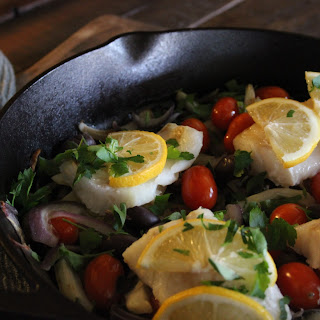 Mediterranean Baked Cod (and a few tips on feeding picky eaters).