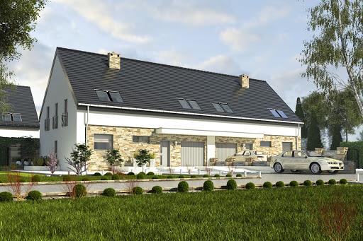 projekt Bernikla II z garażem 2-st. bliźniak A-BL1