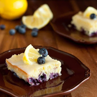 Blueberry Lemon Brownies with White Chocolate Glaze.
