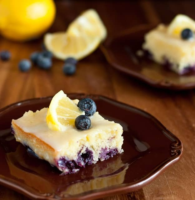 Blueberry Lemon Brownies with White Chocolate Glaze Recipe