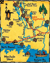 Photo: A regional map showing where Pog is situated in the Spanish River watershed with important places and their purpose: the beavers represent the location of the HBC post; the wigwams, the important Anishnabe places; the railway crossing signs, the CP stops. (more of the origin of this map later)