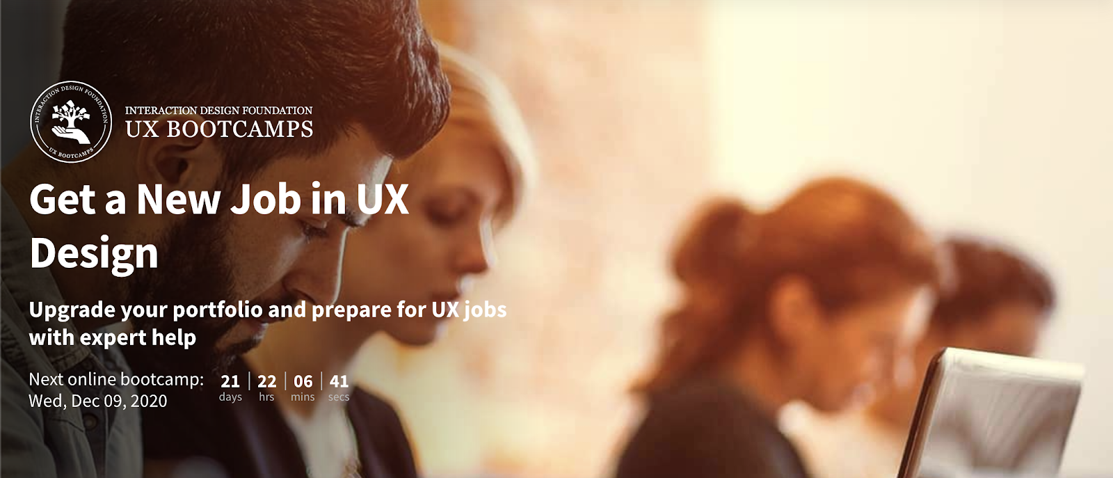 Banner for the Interaction Design Foundation's 'Get a Job in UX' bootcamp.