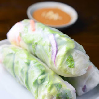Fresh Spring Rolls with Spicy Peanut Sauce.