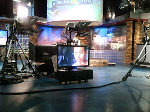 Photo: Can hardly see her but there  is Demetria at the anchor desk.