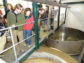 Photo: The group takes in the lovely smell of fermenting ale at Black Sheep.