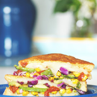 Farmers Cheese Grilled Cheese with Roasted Corn, Cilantro, Roasted Tomato Salsa, Avocado + Red Cabbage Slaw