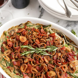 Green Bean Casserole with Bacon and Fried Shallots.
