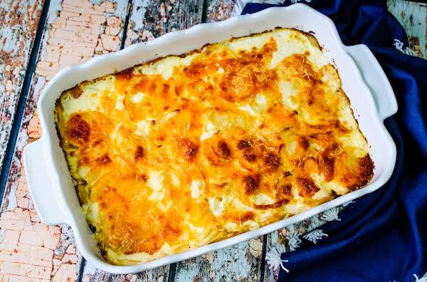 Golden Brown Cheese On Top Of The Easy Au Gratin Potatoes.