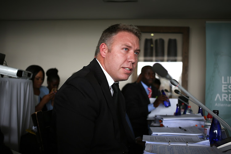 Dirk Groenewald at the arbitration hearings between the State and the families of victims in the Life Esidimeni tragedy. Retired Deputy Chief Justice Dikgang Moseneke is heading the hearings. File photo.