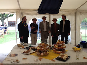 Photo: The gentlemen  of 'Close Shave' give an impromptu barbershop performance at the reception in the marquee after the Sunday concert during Summer Music Week.