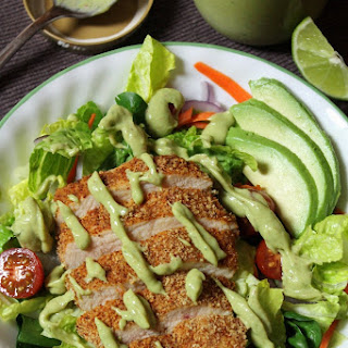 Southwestern Oven-Fried Chicken Salad with Avocado Dressing.