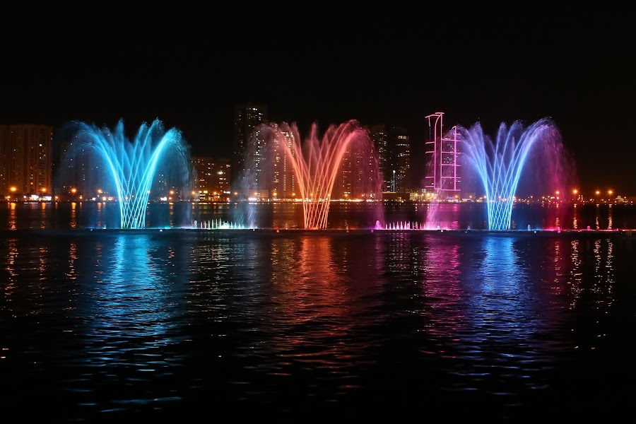 Colors by Salman Ahmed - City,  Street & Park  Fountains ( lights, water, fountains, colors, corniche, shower, city )