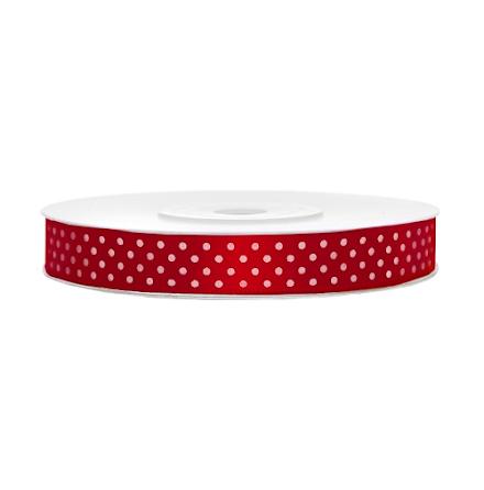 Satinband - Röd med vita prickar