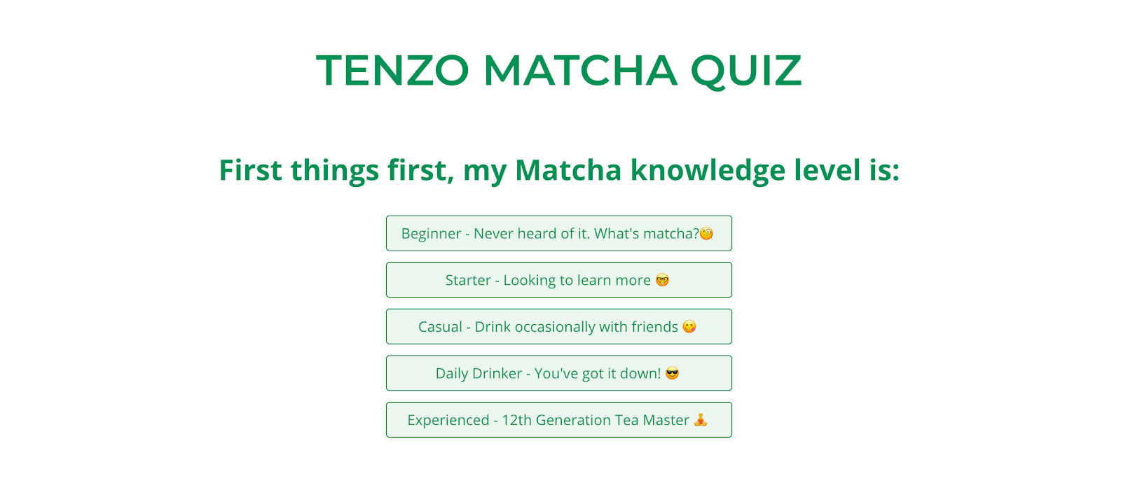 Tenzo Tea quiz question example