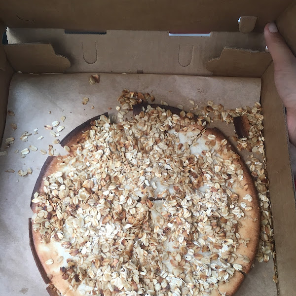This is the GF Cinnamon Roll Dessert Pizza Described as:  Decadent desert of cinnamon & brown sugar filing topped with a beautiful cream cheese topping.  Confused??