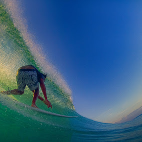 Barreled at Sunset by Trevor Murphy - Sports & Fitness Surfing ( bali, surfing, tmurphyphotography, events, uluwatu, places )