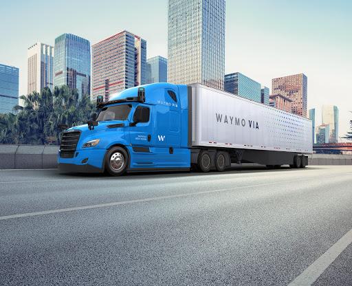 Waymo Via truck driving on freeway
