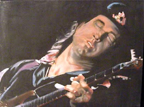 Photo: a (poor quality) snapshot of my husband Eric's painting of musician Stevie Ray Vaughan