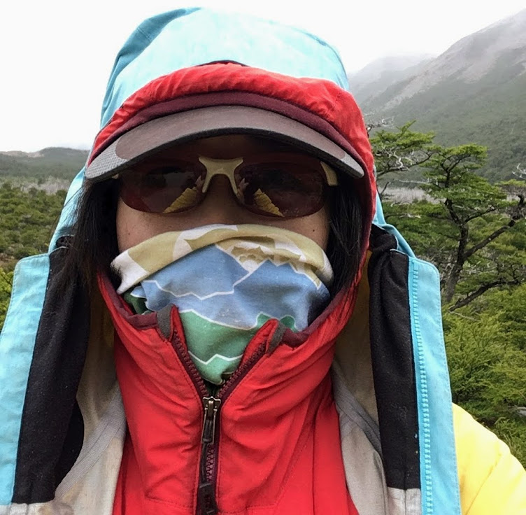 Me wearing all the layers, including my Buff, in Patagonia