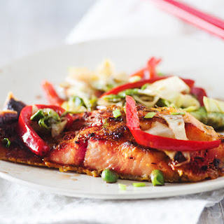 Pan Seared Salmon with Thai Vegetables.