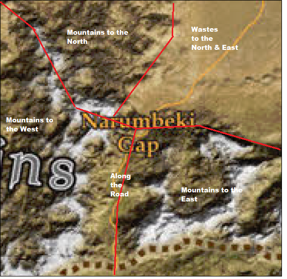 250 mile wide area about the Narumbeki gap.