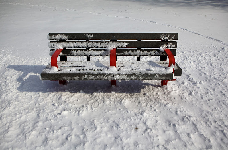 Photo: Melting snow on a park bench in Warner Park, Madison, Wisconsin.