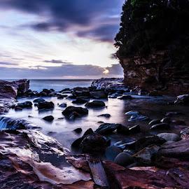 Avoca Point Beach by Mel Stratton - Landscapes Beaches ( water, cliff, seascape, beach, rocks,  )