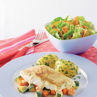 Gratinierter Seelachs mit Kürbis und Zucchini