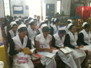Photo: Early morning chapel. The recently capped nurses are in the front.