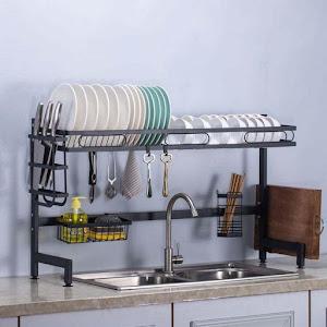 Organizator reglabil - scurgator de vase deasupra chiuvetei, Negru
