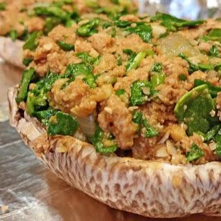 HCG P2 Portobello Mushrooms with Ground Turkey and Spinach Stffing Recipe