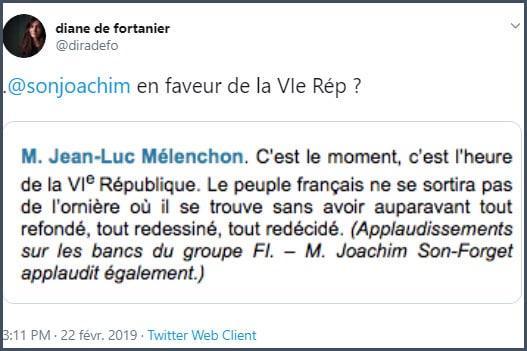 Tweet Diane de Fortanier JSF en faveur de la VIe Rép ?