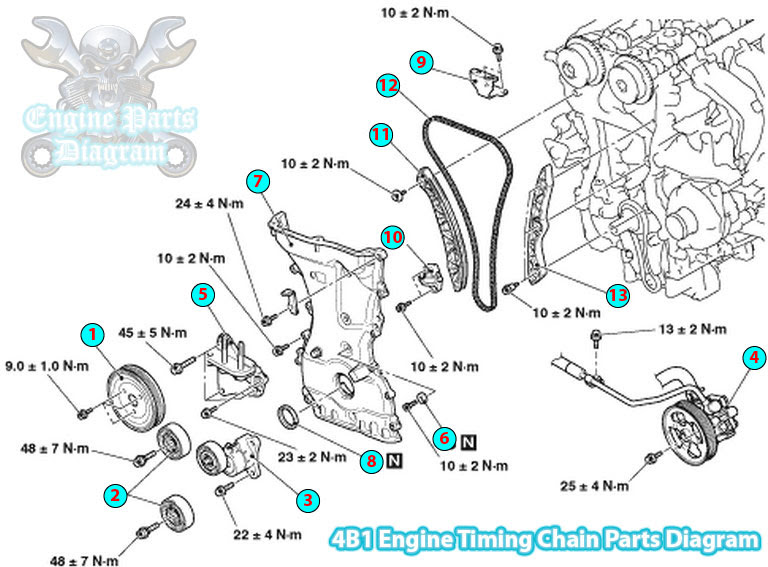 2009 Mitsubishi Outlander Timing Chain Parts Diagram  4b1 Engine