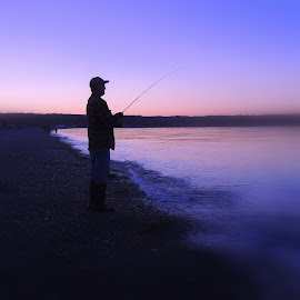 My Beach Caster by Becky Luschei - Sports & Fitness Watersports ( pre-dawn sky, pinks, silhouette, early morning bite, august, salmon, purples, beach caster, fisherman )