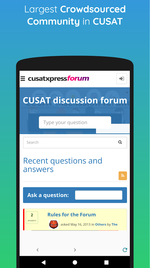 CUSAT Forums- screenshot