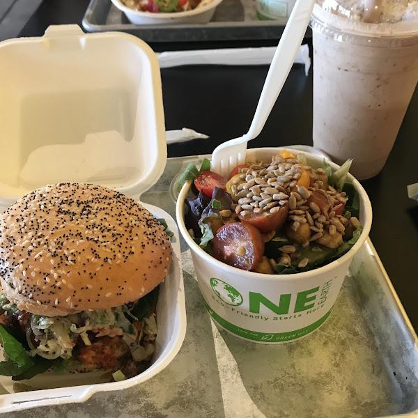 Volcano burger and CSA salad with a Mexican espresso
