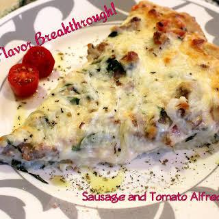 Sausage and Tomato Alfredo Pizza!.