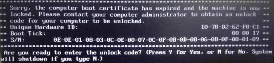 Muestra de pantalla bloqueada