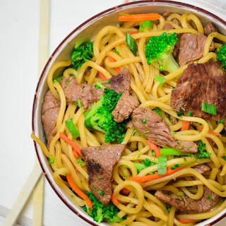 Beef and Broccoli Lo Mein.