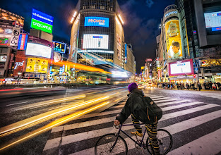 Photo: Traffic in Shibuya, Tokyo  Here's one of the images I captured in that 15-minute (boring) Google Glass video I posted from Shibuya Station - What is it like to ride the subway to the busiest intersection in the world? ! :)  There are about 30 seconds of vehicular traffic then 30 seconds of crazy foot-traffic! Here, a biker pauses and waits for his opening...   #Throughglass  #CoolJapan  #100Tokyo