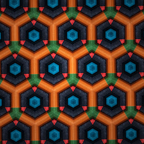 Colourful kaleidoscopic pattern by Arun Karanth - Abstract Patterns ( orange, colourful, kaleidoscope, pattern, blue, wallpaper, similarity, india, hexagon )
