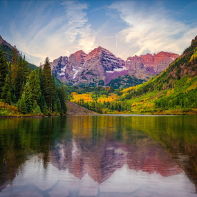 Maroon Bells by Matt Workman - Landscapes Mountains & Hills ( reflection, mountains, autumn, fall, colorado, trees, landscape photography, sunrise, morning, landscapes, landscape, alpine )