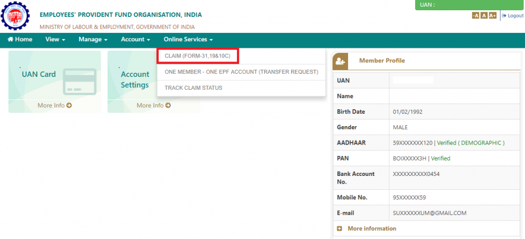 Click Claim (Form-31, 19 & 10C) for EPF withdrawal