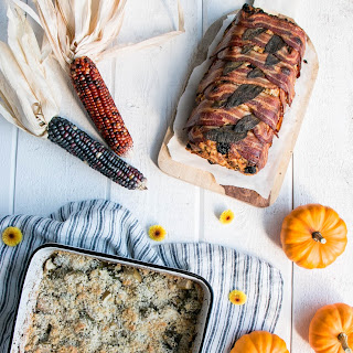 Essential Thanksgiving Side Dishes - Brussels Sprouts Au Gratin & Currants and Sausage Stuffing.